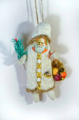 Cotton Father Christmas with Feather-Tree Sprig and Treats