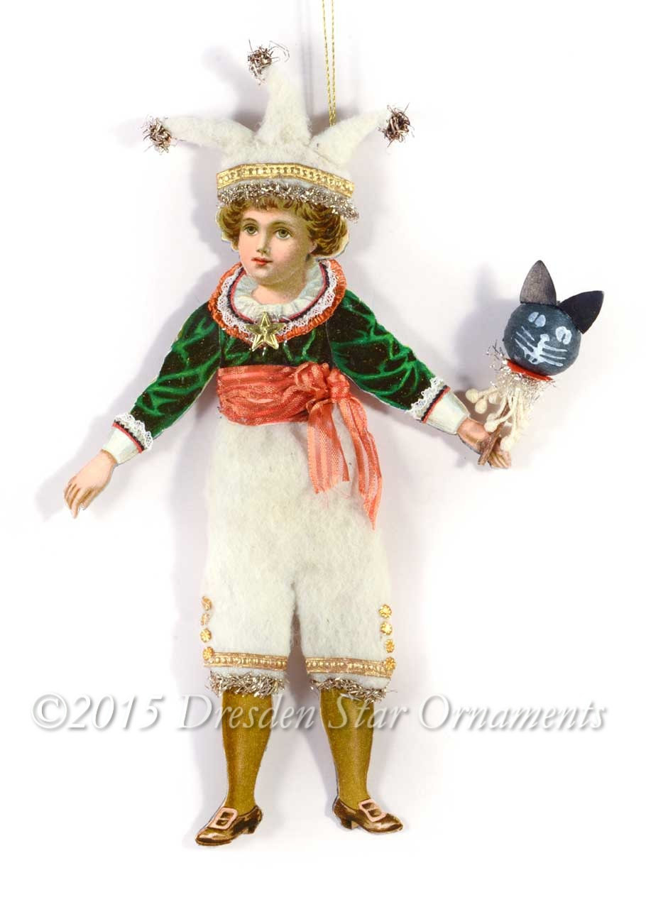 Victorian Boy In Cotton Clown Costume With Halloween Cat