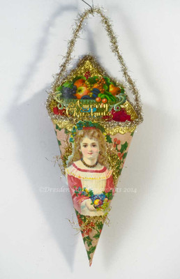 Maiden in Red Dress on Cornucopia Candy Container with Luscious Fruit Bowl