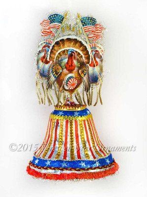 Victorian Patriotic Turkeys On Decorated Paper Bell Candy Container