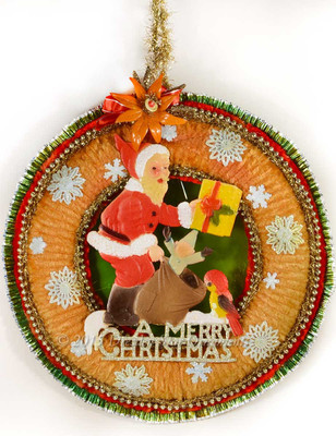 Spectacular Mid-Century Wreath with Santa and Snowflakes