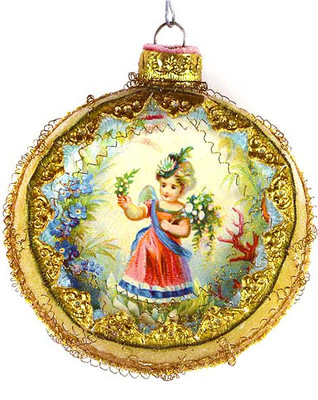 Flower Fairy on Frosted Sugar Plum Indent Ornament
