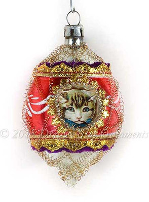 Double-sided Red and Silver Tear-drop Indent with Two Kitties