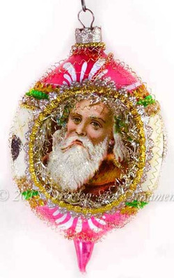 Frosty Santa in Pink and White Striped Oval Indent