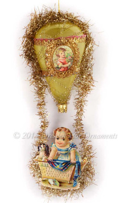 Baby with Puppy Riding Golden Hot Air Balloon with Victorian Bump Tinsel