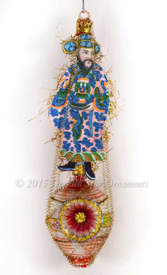 Exotic Asian Guy on Glass Lantern Ornament