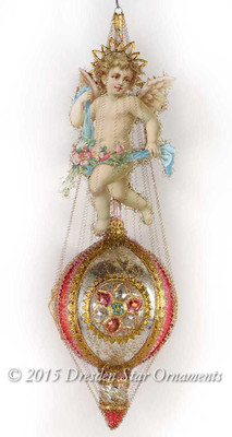 Angel with Cherry Blossoms on Gilded Antique Glass Ornament with 3 Cathedral Windows