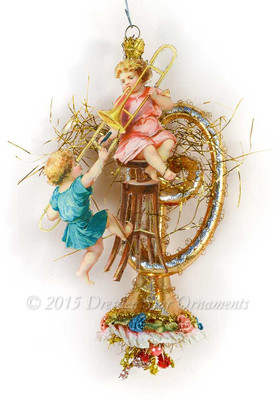 Reserved for Melissa – Fancy Glass Trombone Ornament with Victorian Children