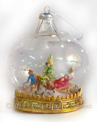 Children in Snow Scene on Glass Dome Diorama Ornament