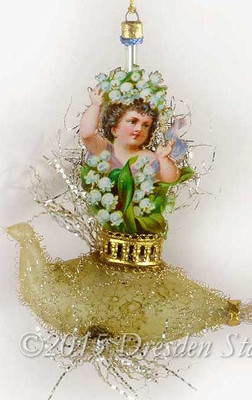 Victorian Girl with Lily-of-the-Valley Flowers Riding Antique Glass Swan