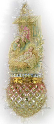 Pastel Nativity Scene on Embossed Ornament with Jewels and Sequins