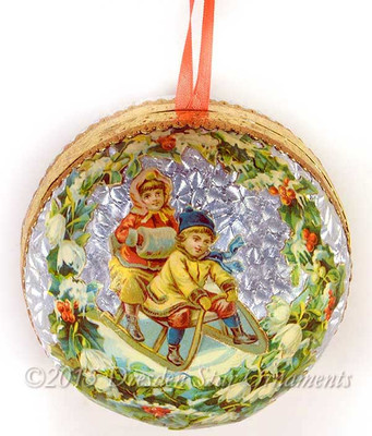 Victorian Children Sledding on Molded Paper Sphere Candy Container