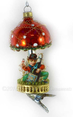 Reserved for Brenda – Leprecaun with Large Champagne Bottle Clip-On Mushroom Ornament