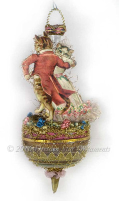 Reserved for Diana – Dancing Tabby Cats on Delicate Early Antique Parasol-Shaped Ornament