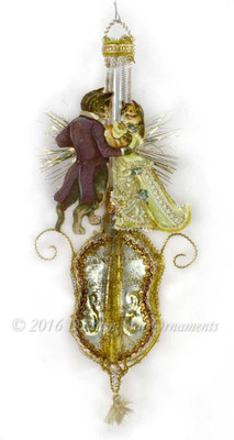 Reserved for Diana – Dancing Tabby Cats on Glass Musical Bass Ornament
