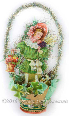 Reserved for Dominique – St. Patrick's Day Themed Paper Basket with Victorian Girl, Flowers, Kitty, and Clovers