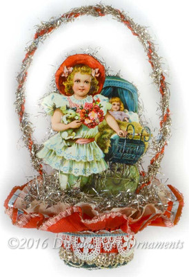 Reserved for Diana –Victorian Girl with Baby Carriage in Double-Ruffle Valentine Nut-Cup