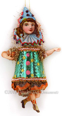 Adorable Victorian Girl Clown with Green Glass Body