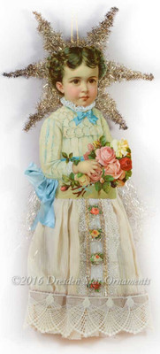 Large Victorian Girl in Exquisite Lace Dress with Blue Silk Ribbon