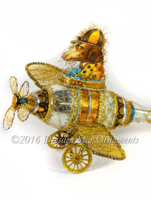 Reserved for Diana –Dog in Bowler Cap Flying Amazing 3-D Glass Airplane