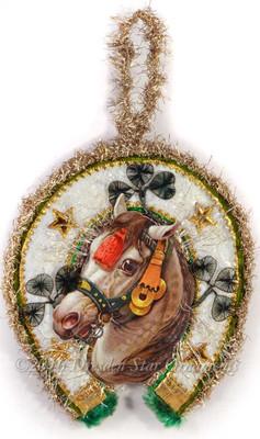 Horse Framed in Cotton Batting Horseshoe with Shamrocks