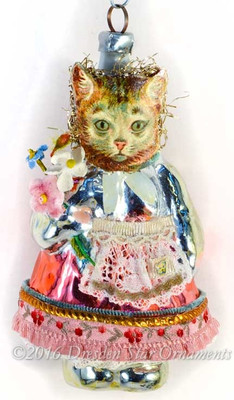 Reserved for Cynthia – Girl Pussy-Cat Holding Flowers on Figural Glass Body with Apron