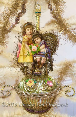 Reserved for Diana – Sweet Victorian Girls on Glass Basket