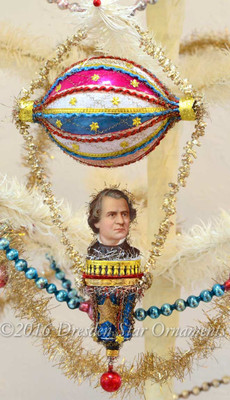 Reserved for Brenda – President Johnson in Patriotic Dirigible with Blue Bell and Decorative Loop Tinsel