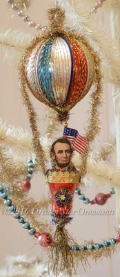Reserved for Brenda – President Lincoln in Patriotic Balloon with Red Bell