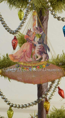 Reserved for Melissa – Dancing Tabby Cats on Beautiful Antique Unsilvered Rose-Pink Boat