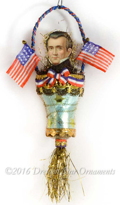 President Polk on Ornately Decorated Glass Bell Ornament with Silk Flags
