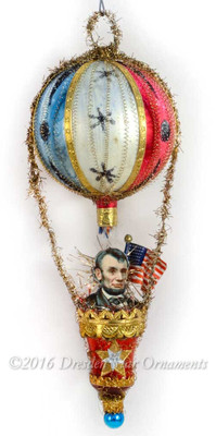 President Lincoln riding Patriotic Hot Air Balloon Ornament with Red Bell