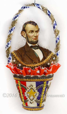 President Lincoln in Die-cut Glittered Basket with Stars and Stripes