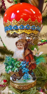 Reserved for Dennis – Santa's Elf with Wooden cart under Large Glass Amanita Mushroom Clip-on Ornament