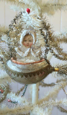 Reserved for Dennis – Snow Baby in Antique Glass Rocket Ornament