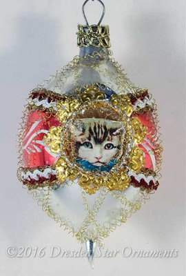 Oval Red and Silver Two Sided Ornament with Two Kitties