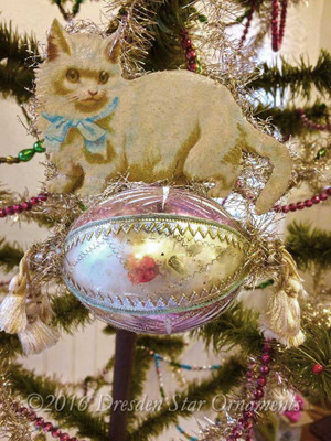 White Kitty on Pastel Oval Glass Ornament with Silk Tassels