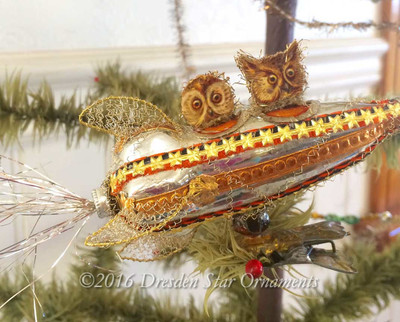 Reserved for Brenda – Owls Riding Steam-Punk Halloween Rocket Clip-On Ornament