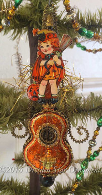 Reserved for Brenda – Little Girl in Halloween Costume on Ornately Decorated Orange Cello Ornament
