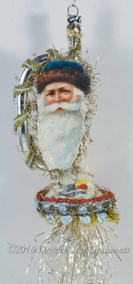 Santa in Fur Blue Cap on Silver Horn with Soft Blue and Gold Trims