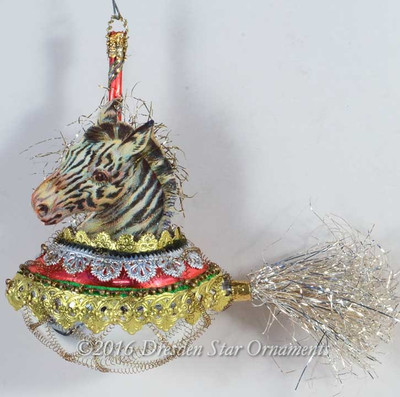 Zany Zebra Riding Silver and Red Rocket Ornament
