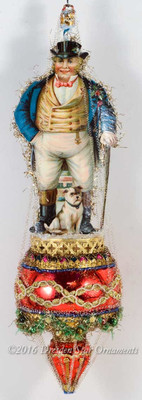 """Dickens"" Gentleman with Dog on Elaborate Spindle Ornament with Christmas Garland"