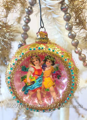 Twin Girls in Satin Pink Indent Ornament with Glass Aqua Beads
