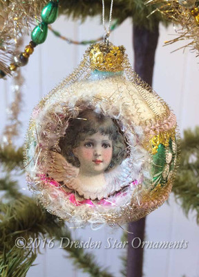Cherub with Lavender Wings on Beautiful Pastel Frosted Indent Ornament