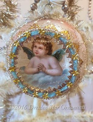 Dainty Angel on Cloud inside Pastel Pink Indent Ornament Accented in Gold, Blue and White