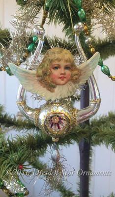 Cherub Angel on Graceful Silver Antique Lyre Ornament