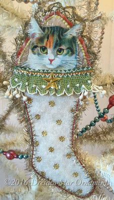 Reserved for Ruth – Adorable Tabby Cat in Cotton Batting Stocking
