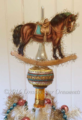 Reserved for Courtney – Rocking Horse on Gold Glass Spire Tree Topper