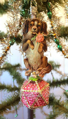 Dog With Rose on Antique Pink Faceted Ornament