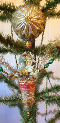 Baby Jesus with Lamb and Angel Trio in Hot Air Balloon with Antique Starburst Ornament